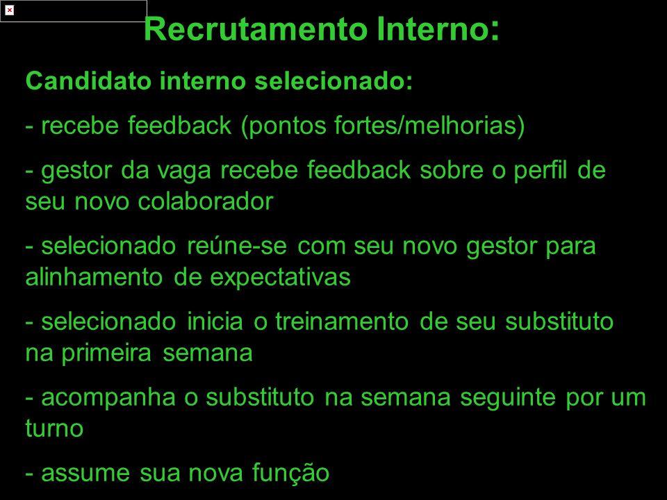 Recrutamento Interno : Candidato interno selecionado: - recebe feedback (pontos fortes/melhorias) - gestor da vaga recebe feedback sobre o perfil de s