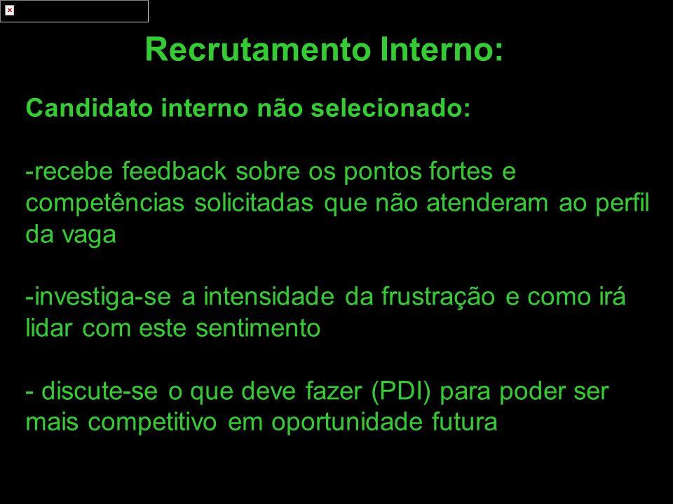 Recrutamento Interno: Candidato interno não selecionado: -recebe feedback sobre os pontos fortes e competências solicitadas que não atenderam ao perfi