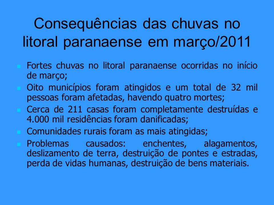 Consequências das chuvas no litoral paranaense em março/2011 Fortes chuvas no litoral paranaense ocorridas no início de março; Oito municípios foram a