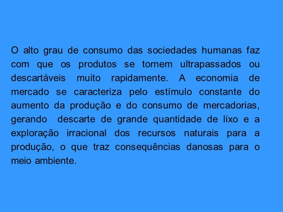 O alto grau de consumo das sociedades humanas faz com que os produtos se tornem ultrapassados ou descartáveis muito rapidamente. A economia de mercado