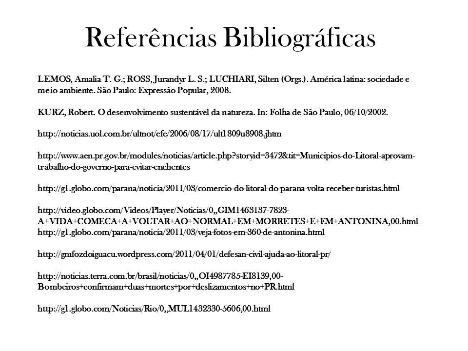 Referências Bibliográficas LEMOS, Amalia T. G.; ROSS, Jurandyr L. S.; LUCHIARI, Silten (Orgs.). América latina: sociedade e meio ambiente. São Paulo: