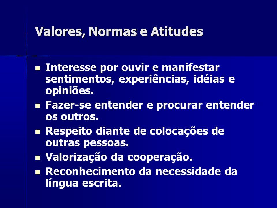 Valores, Normas e Atitudes Interesse por ouvir e manifestar sentimentos, experiências, idéias e opiniões. Fazer-se entender e procurar entender os out