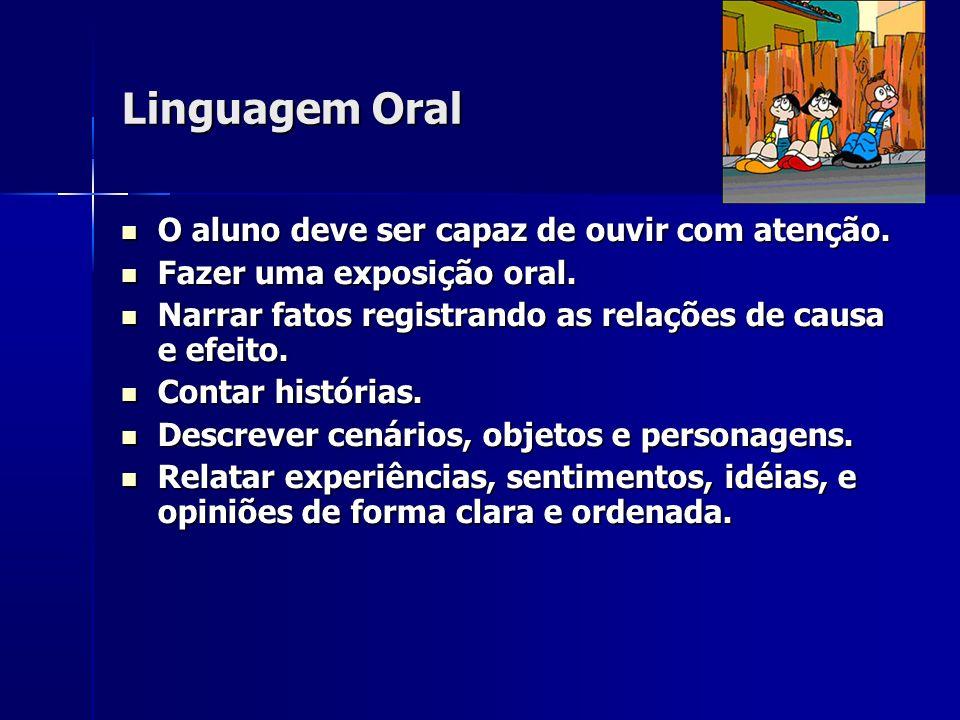 Linguagem Oral O aluno deve ser capaz de ouvir com atenção. O aluno deve ser capaz de ouvir com atenção. Fazer uma exposição oral. Fazer uma exposição