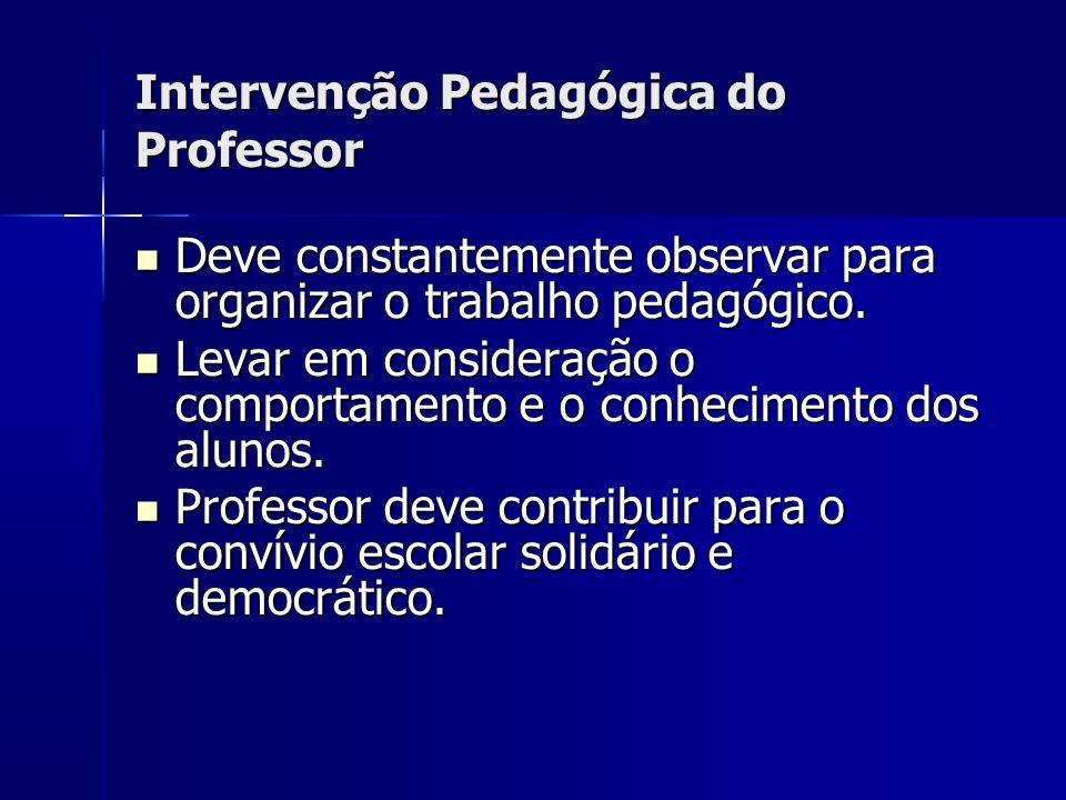 Intervenção Pedagógica do Professor Deve constantemente observar para organizar o trabalho pedagógico.