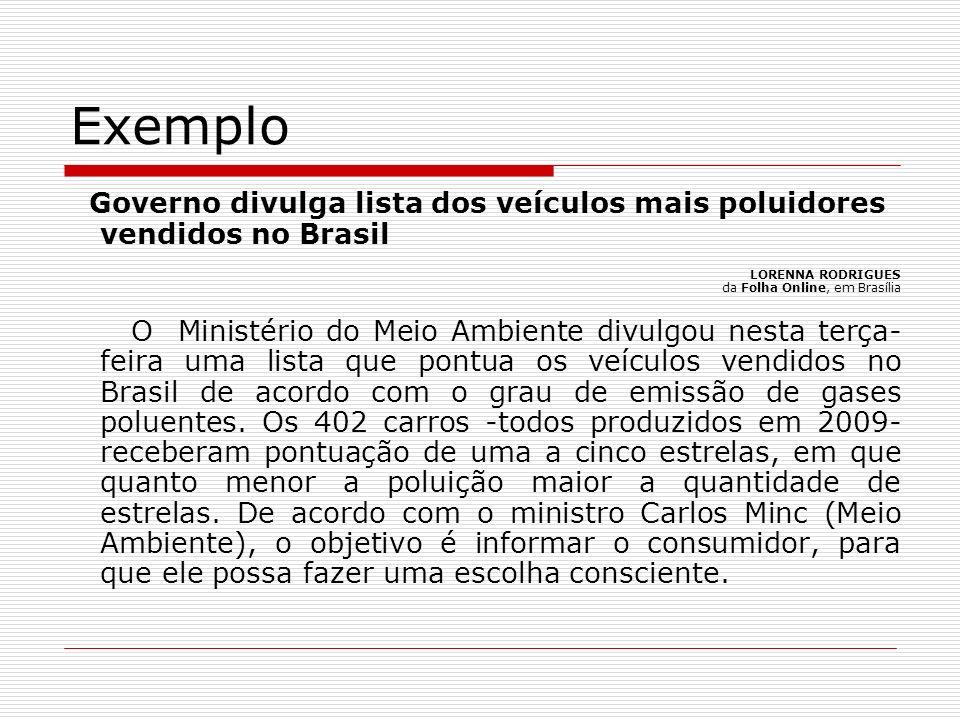 Exemplo Governo divulga lista dos veículos mais poluidores vendidos no Brasil LORENNA RODRIGUES da Folha Online, em Brasília O Ministério do Meio Ambi