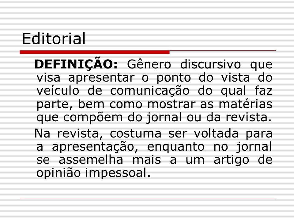 Editorial DEFINIÇÃO: Gênero discursivo que visa apresentar o ponto do vista do veículo de comunicação do qual faz parte, bem como mostrar as matérias