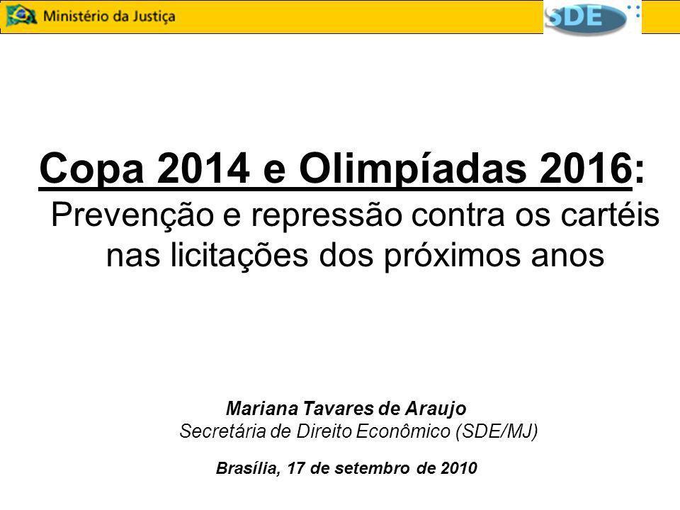 Copa 2014 e Olimpíadas 2016 : Prevenção e repressão contra os cartéis nas licitações dos próximos anos Mariana Tavares de Araujo Secretária de Direito