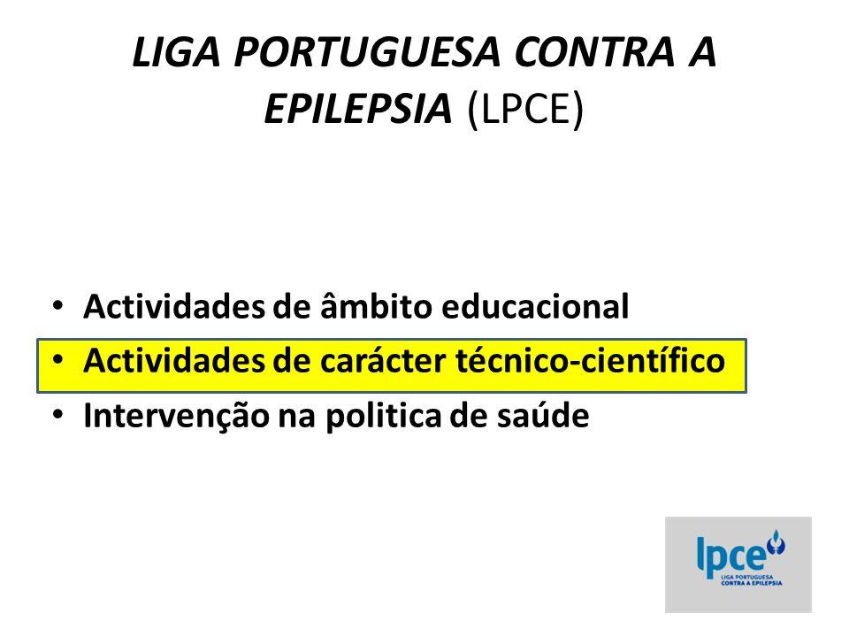 Actividades de carácter técnico-científico 1.Atribuição do Prémio e Bolsa da LPCE 2.Encontro Nacional de Epileptologia (ENE) 3.Forúm Centros Cirurgicos de Epilepsia 4.Reunião Luso-Espanhola de Epilepsia 5.Organização do Curso de Epilepsia com a ECA /ILAE (6 th Migrating Course) 5.Coordenação Cientifica do Fórum BIAL 6.Encontros Regionais de Epilepsia 7.Grupos de trabalho – Comissões da LPCE