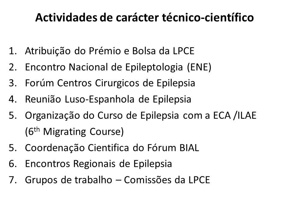 Actividades de carácter técnico-científico 1.Atribuição do Prémio e Bolsa da LPCE 2.Encontro Nacional de Epileptologia (ENE) 3.Forúm Centros Cirurgico