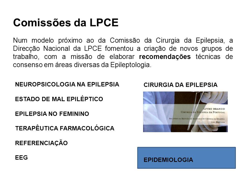 Comissões da LPCE Num modelo próximo ao da Comissão da Cirurgia da Epilepsia, a Direcção Nacional da LPCE fomentou a criação de novos grupos de trabal