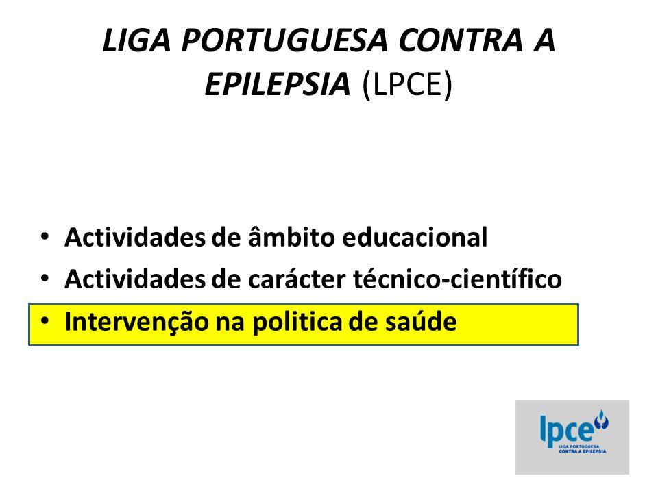 LIGA PORTUGUESA CONTRA A EPILEPSIA (LPCE) Actividades de âmbito educacional Actividades de carácter técnico-científico Intervenção na politica de saúd