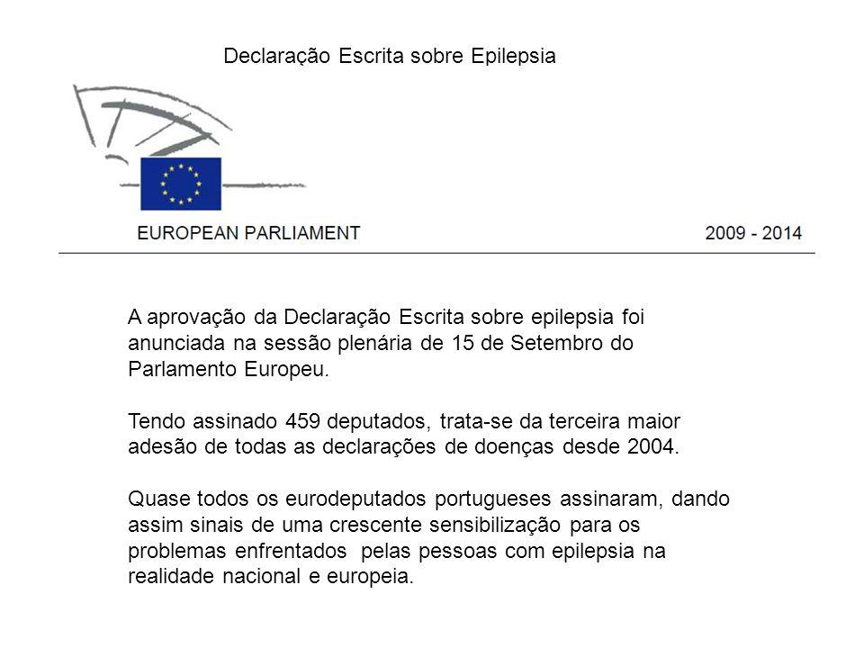 A aprovação da Declaração Escrita sobre epilepsia foi anunciada na sessão plenária de 15 de Setembro do Parlamento Europeu. Tendo assinado 459 deputad