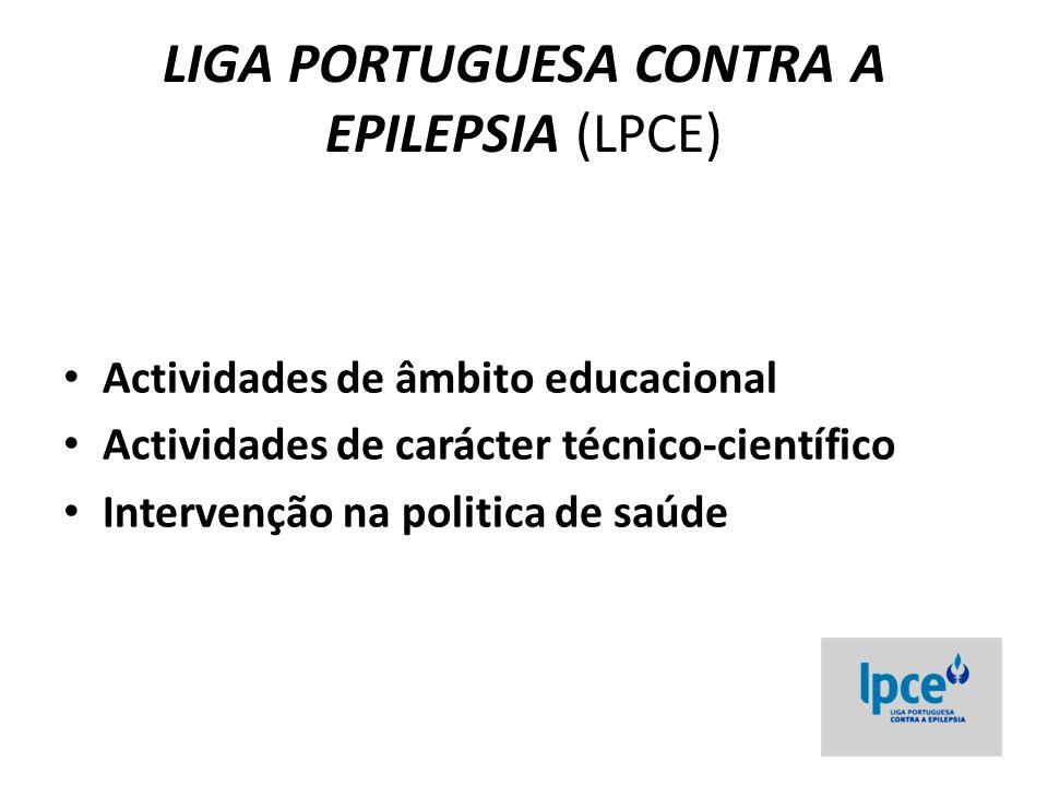LIGA PORTUGUESA CONTRA A EPILEPSIA (LPCE) Actividades de âmbito educacional Actividades de carácter técnico-científico Intervenção na politica de saúde