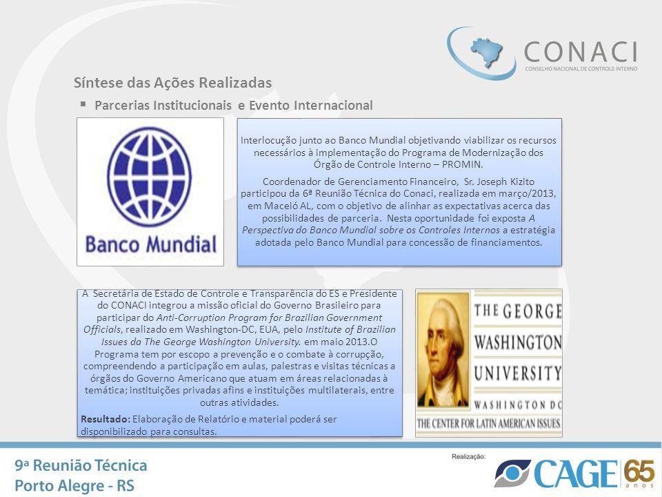 Síntese das Ações Realizadas Parcerias Institucionais e Evento Internacional Interlocução junto ao Banco Mundial objetivando viabilizar os recursos ne