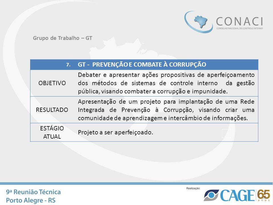 22 Grupo de Trabalho – GT 7. GT - PREVENÇÃO E COMBATE À CORRUPÇÃO OBJETIVO Debater e apresentar ações propositivas de aperfeiçoamento dos métodos de s