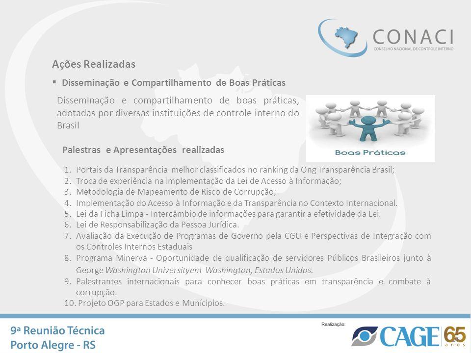 1.Portais da Transparência melhor classificados no ranking da Ong Transparência Brasil; 2.Troca de experiência na implementação da Lei de Acesso à Inf