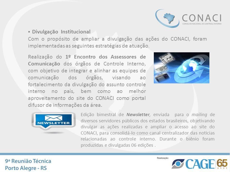 Divulgação Institucional Com o propósito de ampliar a divulgação das ações do CONACI, foram implementadas as seguintes estratégias de atuação. Edição