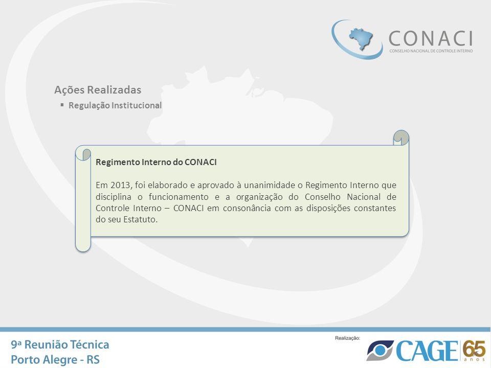 Ações Realizadas Regulação Institucional Regimento Interno do CONACI Em 2013, foi elaborado e aprovado à unanimidade o Regimento Interno que disciplin