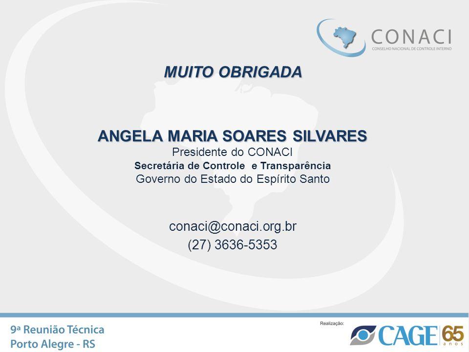 MUITO OBRIGADA ANGELA MARIA SOARES SILVARES ANGELA MARIA SOARES SILVARES Presidente do CONACI Secretária de Controle e Transparência Governo do Estado