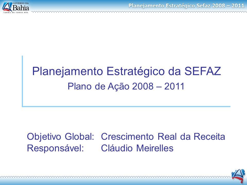 Objetivo Global: Crescimento Real da Receita Responsável:Cláudio Meirelles Planejamento Estratégico da SEFAZ Plano de Ação 2008 – 2011