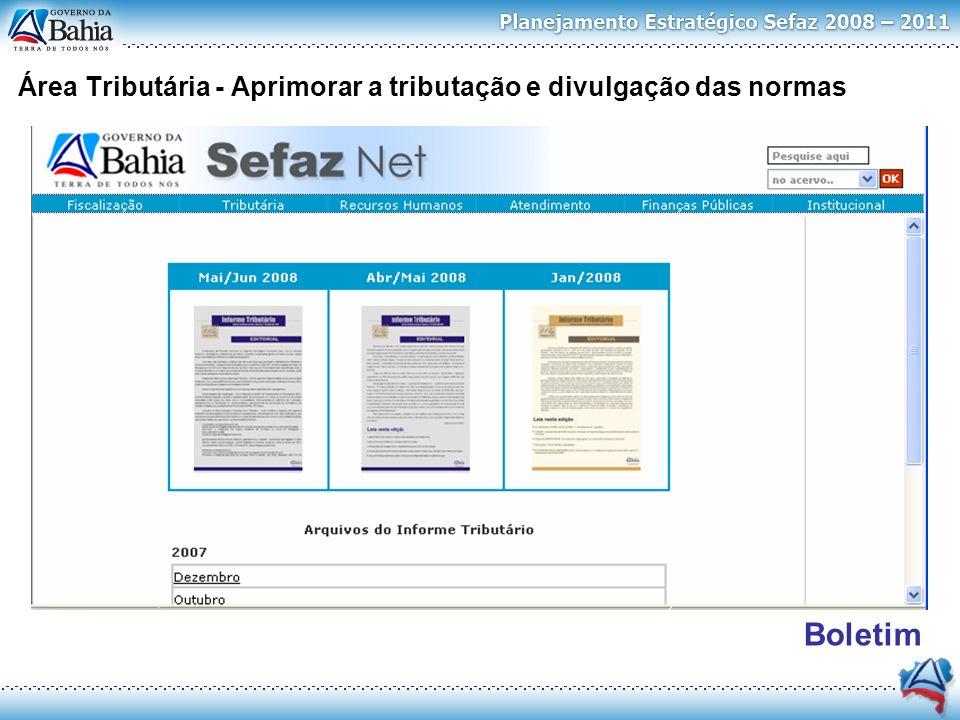 Área Tributária - Aprimorar a tributação e divulgação das normas Pareceres Boletim