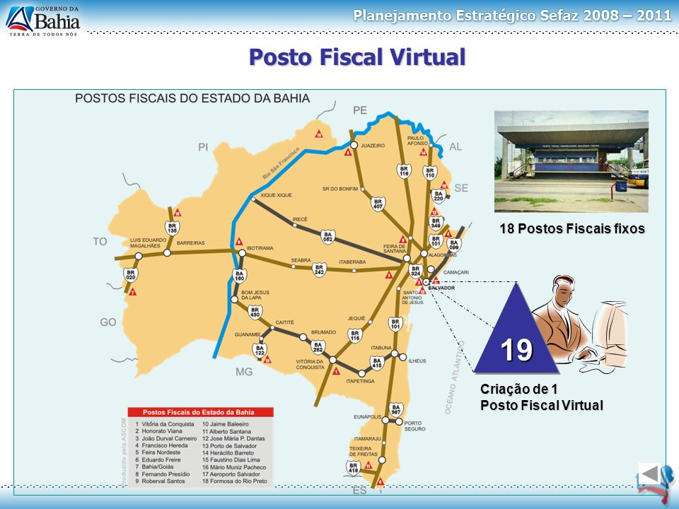 Posto Fiscal Virtual 18 Postos Fiscais fixos Criação de 1 Posto Fiscal Virtual 1919