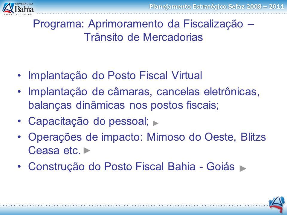 Implantação do Posto Fiscal Virtual Implantação de câmaras, cancelas eletrônicas, balanças dinâmicas nos postos fiscais; Capacitação do pessoal; Opera