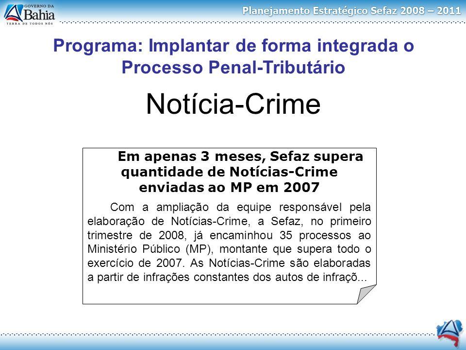 Notícia-Crime Em apenas 3 meses, Sefaz supera quantidade de Notícias-Crime enviadas ao MP em 2007 Com a ampliação da equipe responsável pela elaboraçã