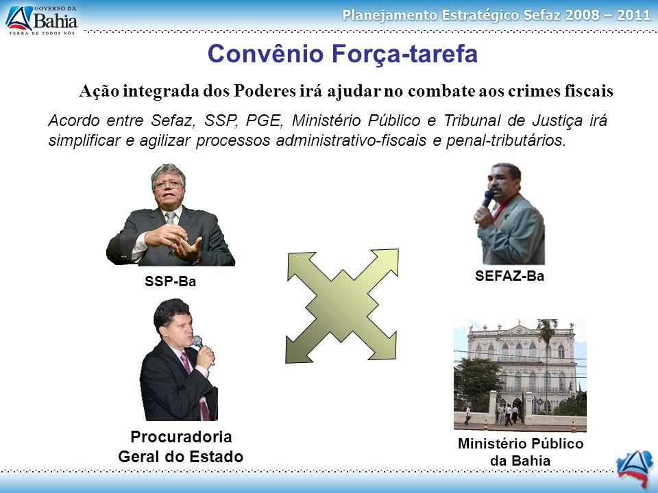 Convênio Força-tarefa Ministério Público da Bahia SSP-BaSEFAZ-Ba Procuradoria Geral do Estado Ação integrada dos Poderes irá ajudar no combate aos cri