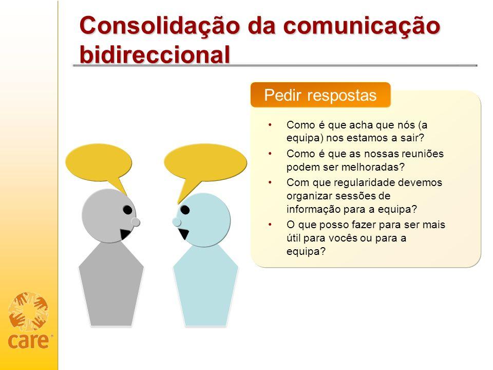 Consolidação da comunicação bidireccional Como é que acha que nós (a equipa) nos estamos a sair? Como é que as nossas reuniões podem ser melhoradas? C