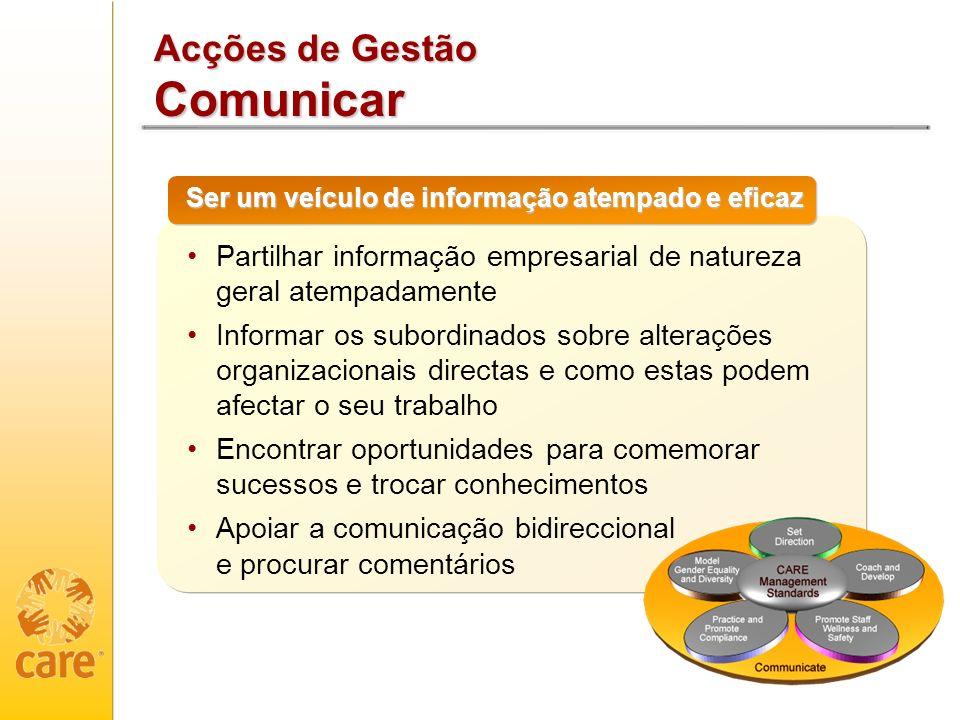 Acções de Gestão Comunicar Ser um veículo de informação atempado e eficaz Partilhar informação empresarial de natureza geral atempadamente Informar os