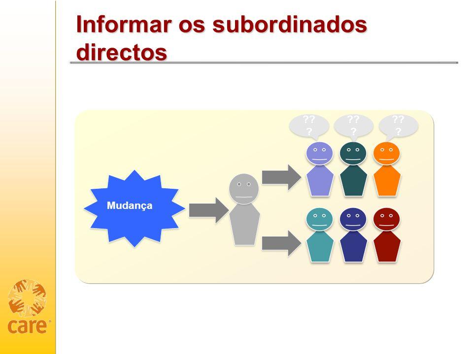 Informar os subordinados directos Mudança ?? ?