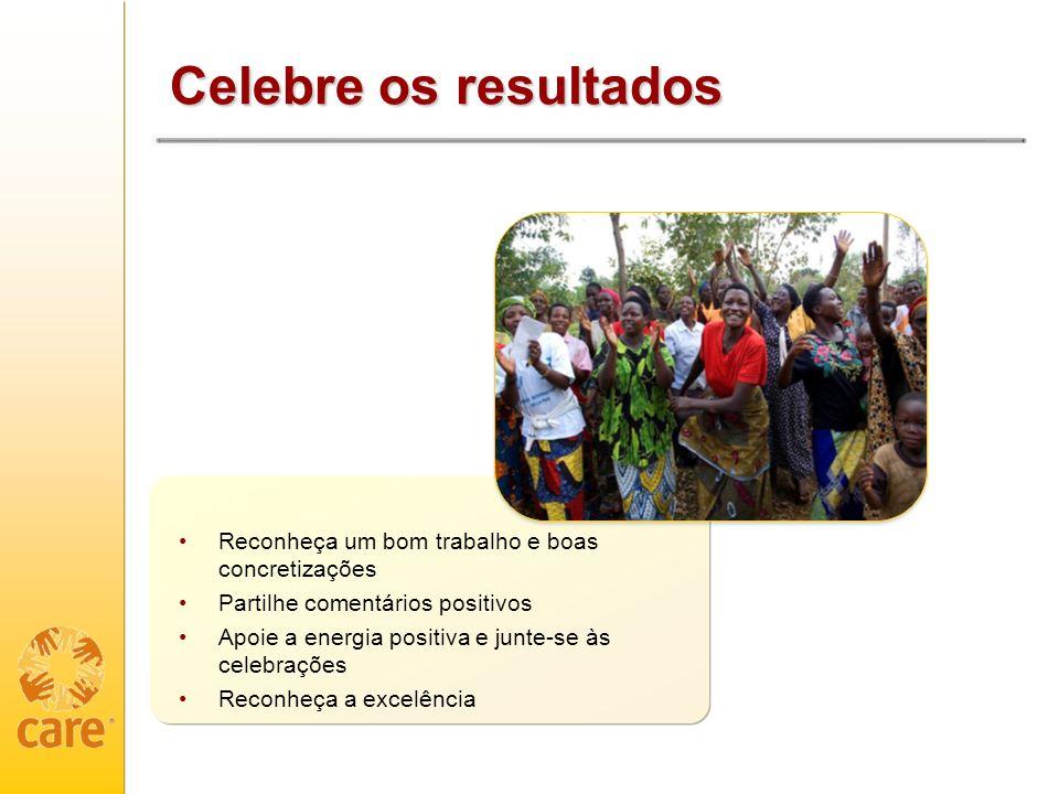 Celebre os resultados Reconheça um bom trabalho e boas concretizações Partilhe comentários positivos Apoie a energia positiva e junte-se às celebrações Reconheça a excelência