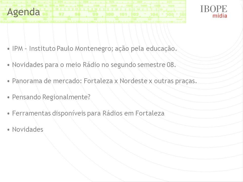 IPM – Instituto Paulo Montenegro; ação pela educação. Novidades para o meio Rádio no segundo semestre 08. Panorama de mercado: Fortaleza x Nordeste x