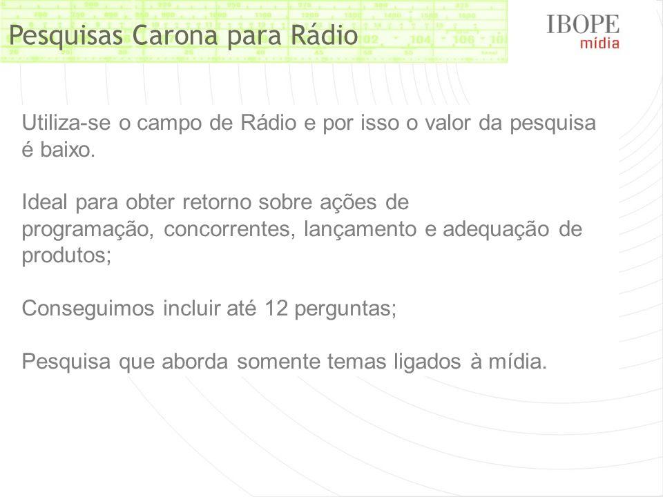 Pesquisas Carona para Rádio Utiliza-se o campo de Rádio e por isso o valor da pesquisa é baixo. Ideal para obter retorno sobre ações de programação, c