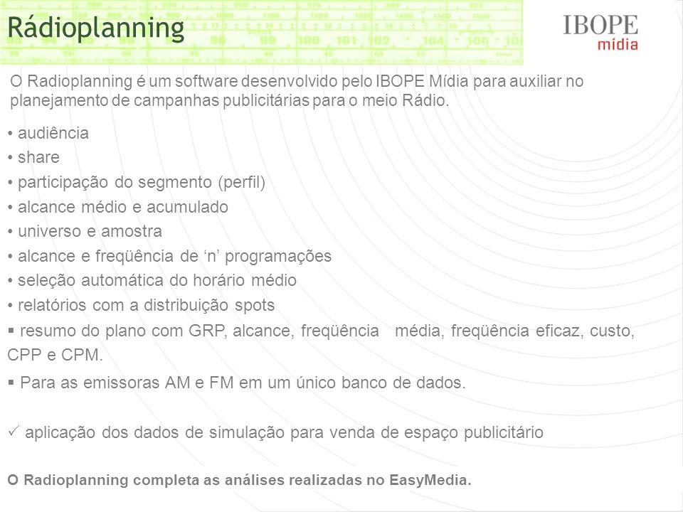 O Radioplanning é um software desenvolvido pelo IBOPE Mídia para auxiliar no planejamento de campanhas publicitárias para o meio Rádio. Rádioplanning