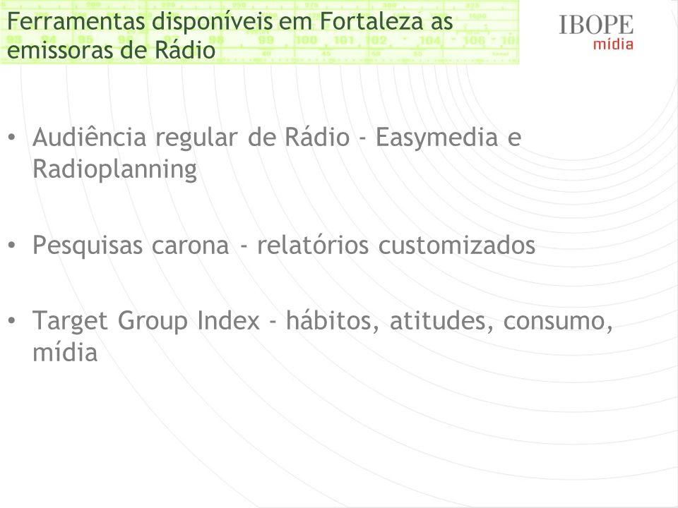 Ferramentas disponíveis em Fortaleza as emissoras de Rádio Audiência regular de Rádio - Easymedia e Radioplanning Pesquisas carona - relatórios custom