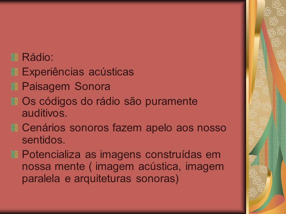 Rádio: Experiências acústicas Paisagem Sonora Os códigos do rádio são puramente auditivos. Cenários sonoros fazem apelo aos nosso sentidos. Potenciali