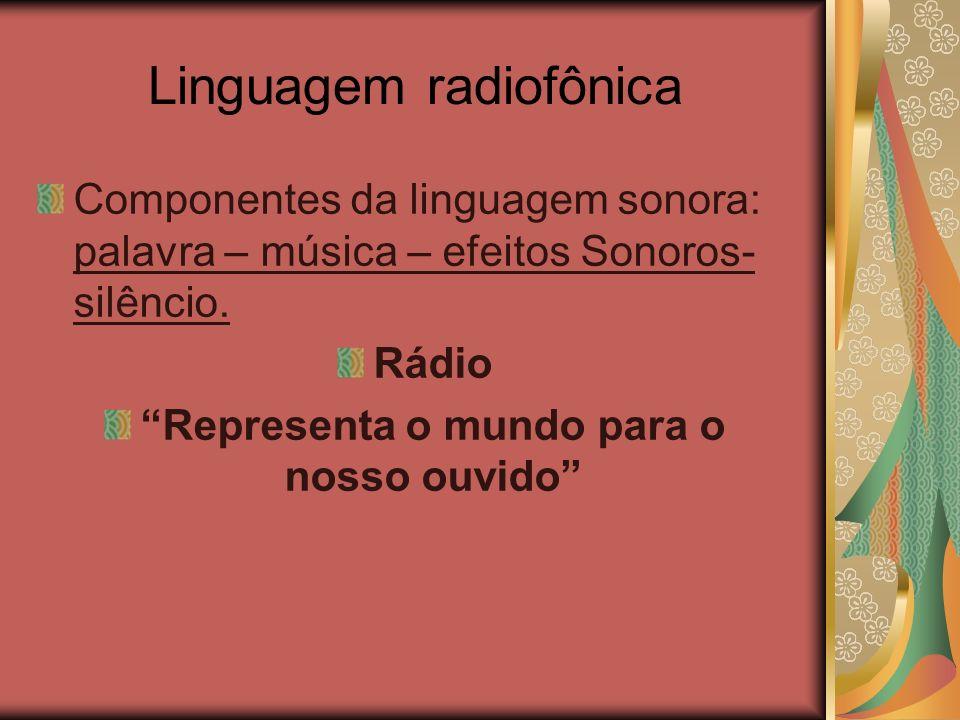 Linguagem radiofônica Componentes da linguagem sonora: palavra – música – efeitos Sonoros- silêncio. Rádio Representa o mundo para o nosso ouvido