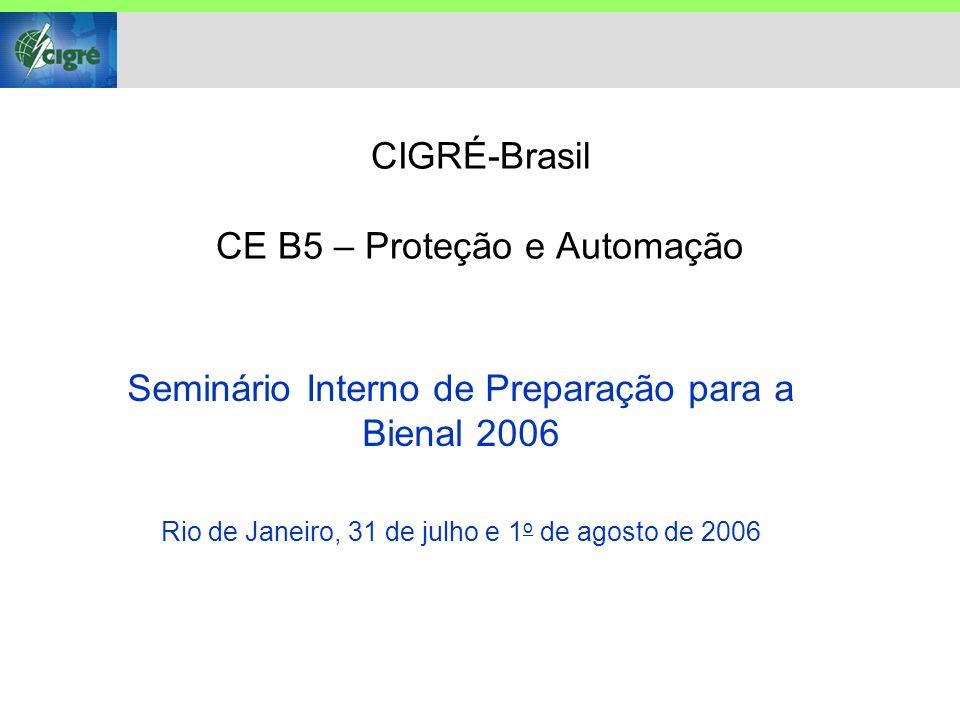 CIGRÉ-Brasil CE B5 – Proteção e Automação Seminário Interno de Preparação para a Bienal 2006 Rio de Janeiro, 31 de julho e 1 o de agosto de 2006