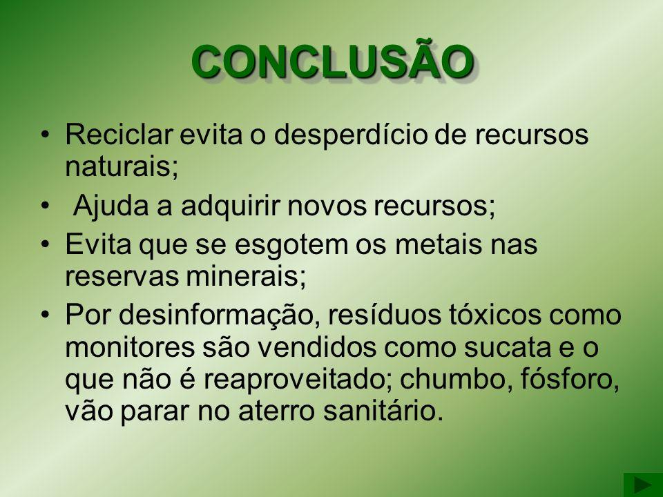 CONCLUSÃOCONCLUSÃO Reciclar evita o desperdício de recursos naturais; Ajuda a adquirir novos recursos; Evita que se esgotem os metais nas reservas min
