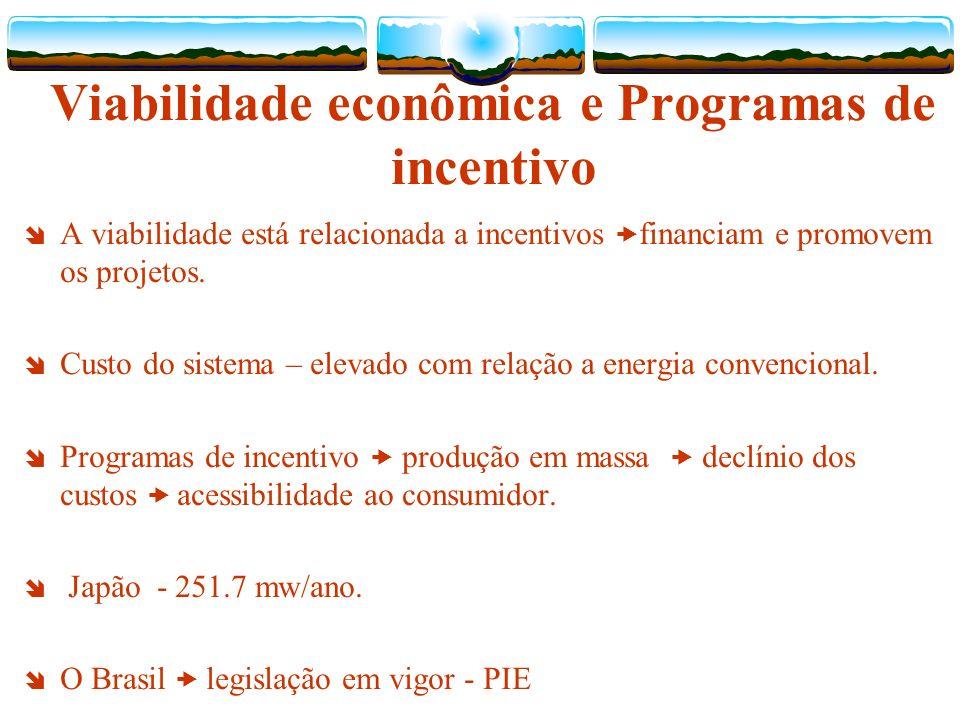 Viabilidade econômica e Programas de incentivo A viabilidade está relacionada a incentivos financiam e promovem os projetos.