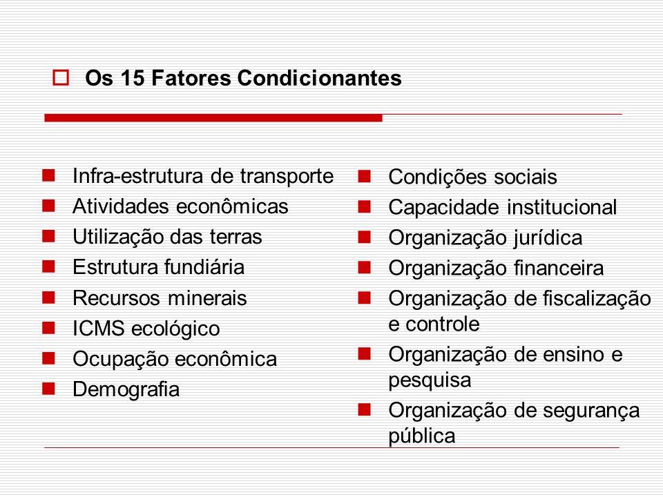 Conjunto de Indicadores Exemplo: condições sociais (fator condicionante) Domicílios por abastecimento de água; Domicílios por destino do lixo; Domicílios por instalação sanitária; Etc.