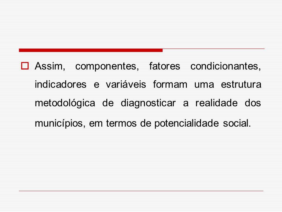 Assim, componentes, fatores condicionantes, indicadores e variáveis formam uma estrutura metodológica de diagnosticar a realidade dos municípios, em termos de potencialidade social.