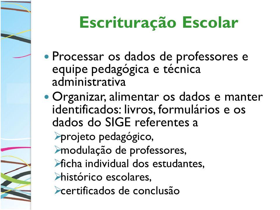 Escrituração Escolar Processar os dados de professores e equipe pedagógica e técnica administrativa Organizar, alimentar os dados e manter identificad