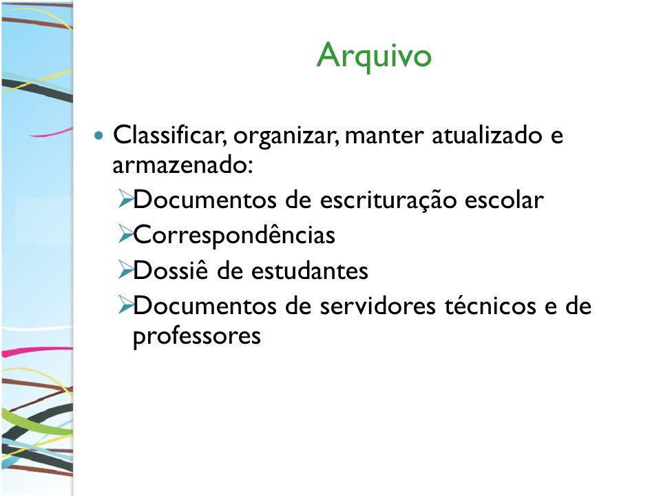 Arquivo Classificar, organizar, manter atualizado e armazenado: Documentos de escrituração escolar Correspondências Dossiê de estudantes Documentos de