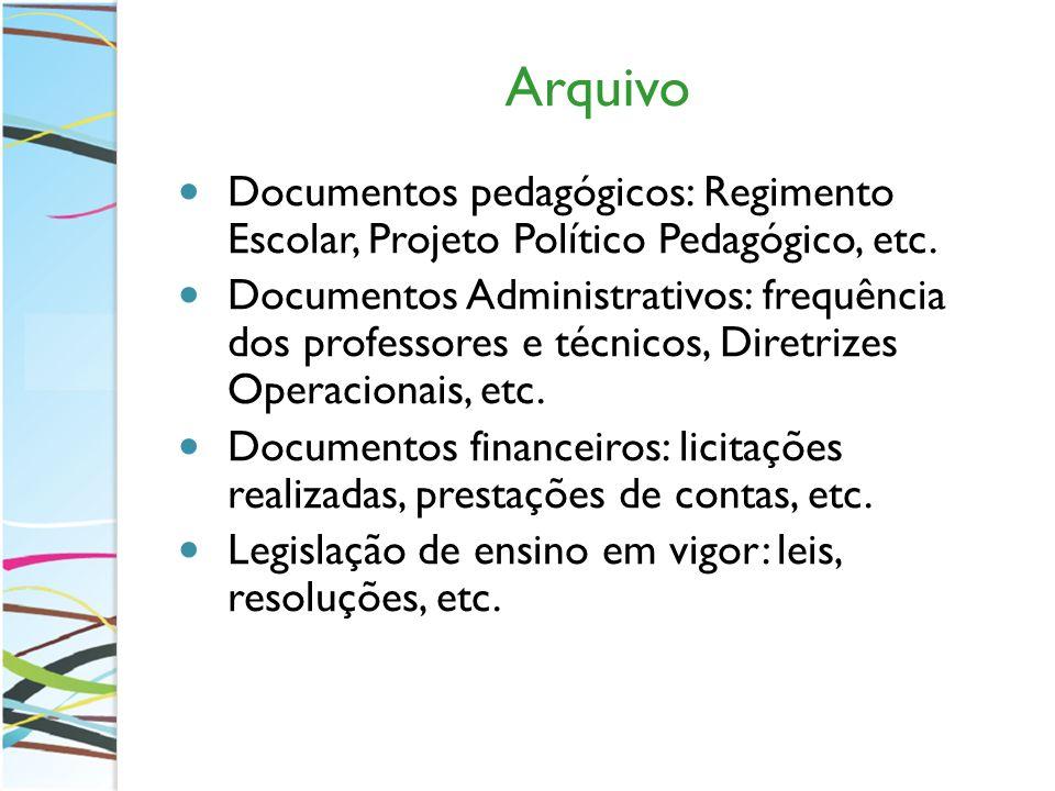 Arquivo Documentos pedagógicos: Regimento Escolar, Projeto Político Pedagógico, etc. Documentos Administrativos: frequência dos professores e técnicos