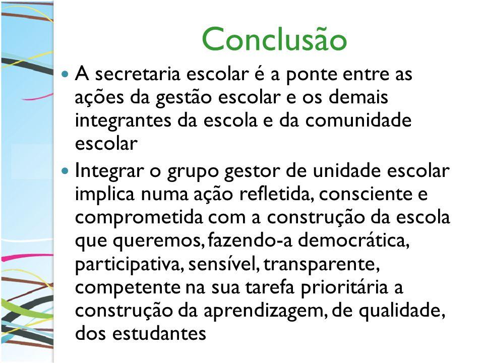 Conclusão A secretaria escolar é a ponte entre as ações da gestão escolar e os demais integrantes da escola e da comunidade escolar Integrar o grupo g