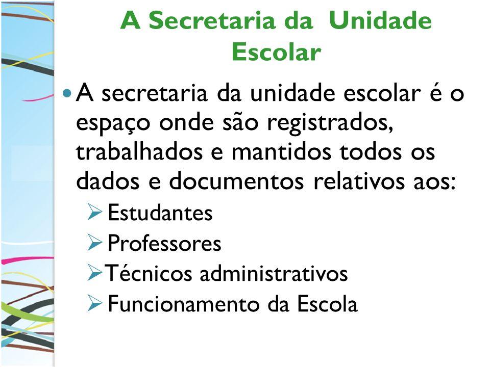 A Secretaria da Unidade Escolar A secretaria da unidade escolar é o espaço onde são registrados, trabalhados e mantidos todos os dados e documentos re