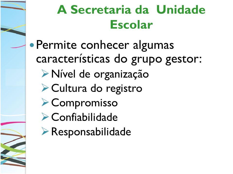 A Secretaria da Unidade Escolar Permite conhecer algumas características do grupo gestor: Nível de organização Cultura do registro Compromisso Confiab